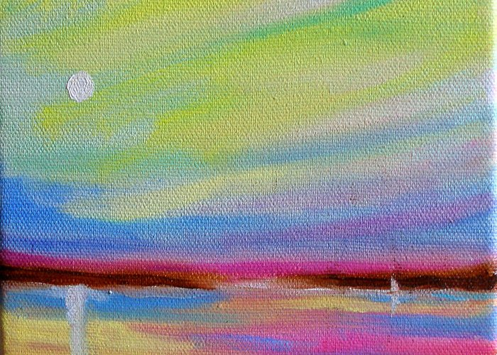 Dawn Greeting Card featuring the painting Dreamscape Serene Dawn by Susi Franco