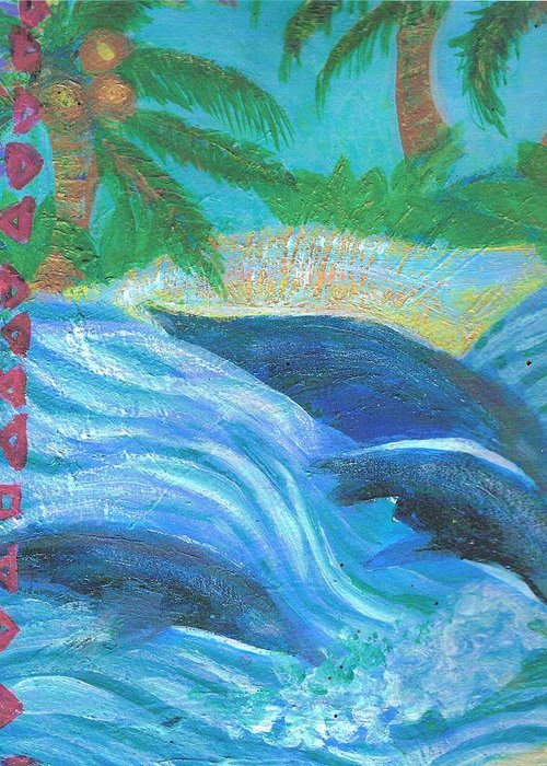 Dolphins Greeting Card featuring the painting Dreamy Dolphins by Anne-Elizabeth Whiteway