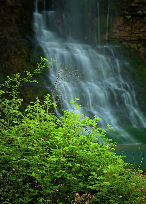Landscape Greeting Card featuring the photograph Dreamy Waterfalls by Iris Greenwell