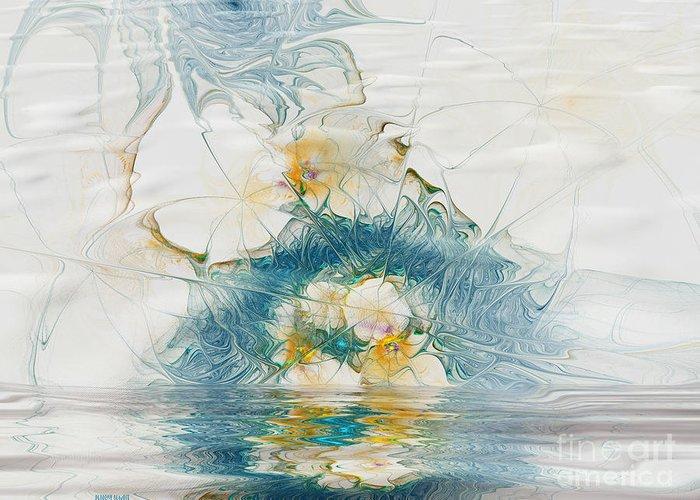 Fractal Greeting Card featuring the digital art Dreamy World In Blue by Deborah Benoit