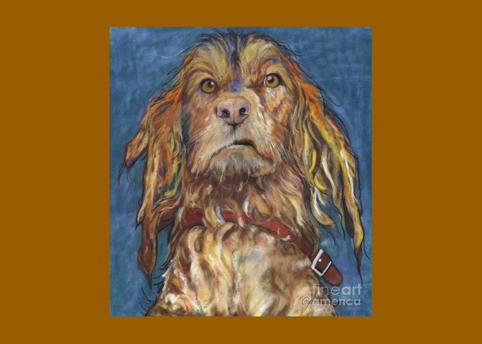 Golden Retriever Painting Greeting Card featuring the pastel Drenched by Pat Saunders-White