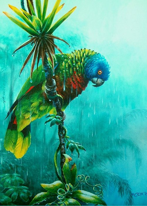 Chris Cox Greeting Card featuring the painting Drenched - St. Lucia Parrot by Christopher Cox