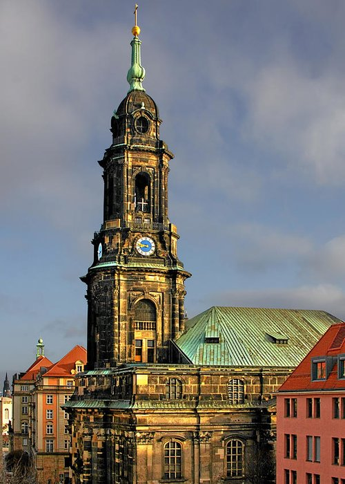Germany Greeting Card featuring the photograph Dresden Kreuzkirche - Church Of The Holy Cross by Christine Till