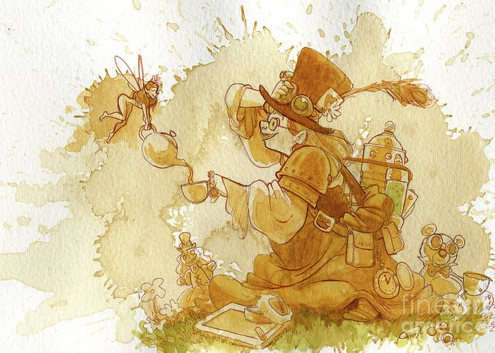 Steampunk Greeting Card featuring the painting Dress Up by Brian Kesinger