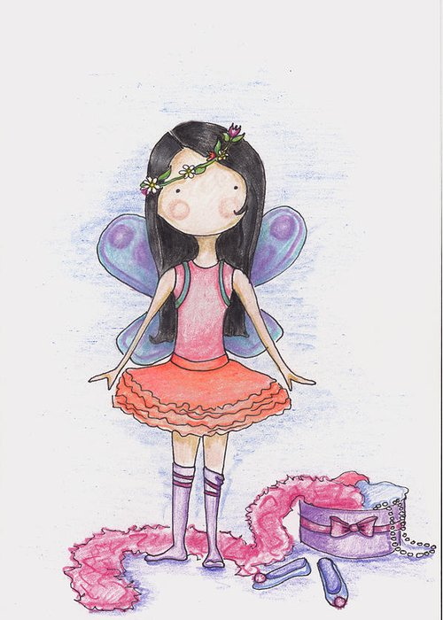 Fairy Greeting Card featuring the drawing Dressing Up by Sarah LoCascio