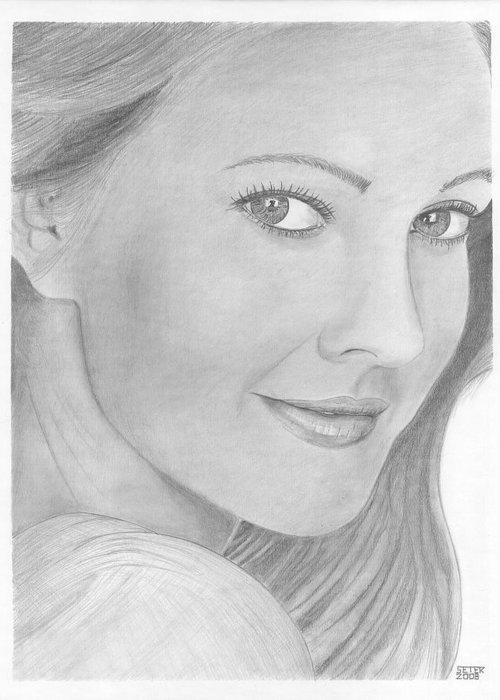Celebrity Drew Barrymore Greeting Card featuring the drawing Drew Barrymore by David Seter