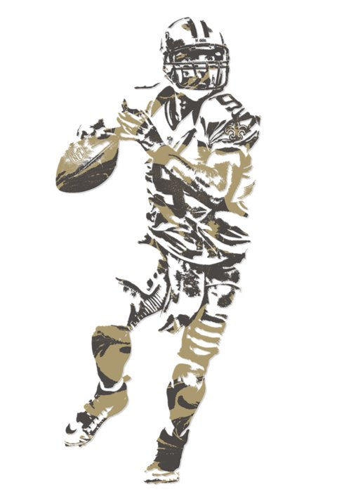 Drew Brees Greeting Card featuring the mixed media Drew Brees New Orleans Saints Pixel Art T Shirt 1 by Joe Hamilton