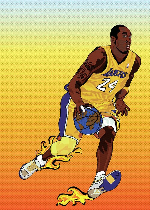 Los Angeles Lakers Greeting Card featuring the painting Dribbling The World by Paul Arm