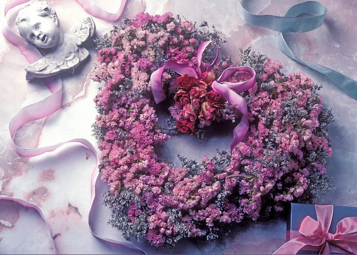 Heart Greeting Card featuring the photograph Dried Flower Heart Wreath by Garry Gay