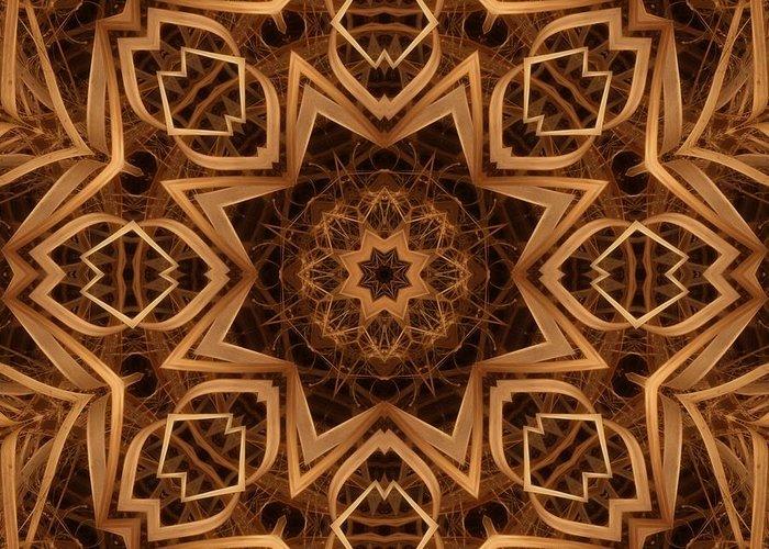 Kaleidoscope Greeting Card featuring the digital art Dried Grass Mandala by Lyle Hatch