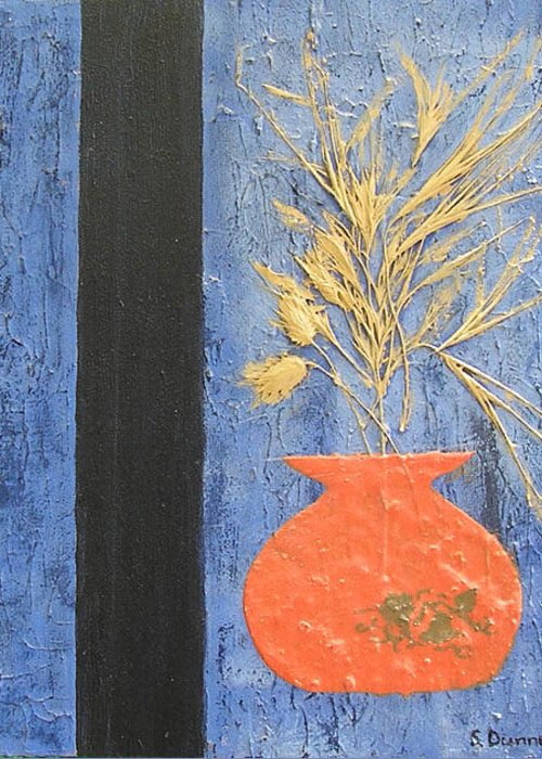 Greeting Card featuring the painting Dried Grass by Shirley anne Dunne