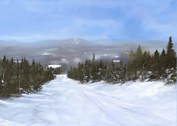 Ski Greeting Card featuring the painting Drifter by Ken Ahlering