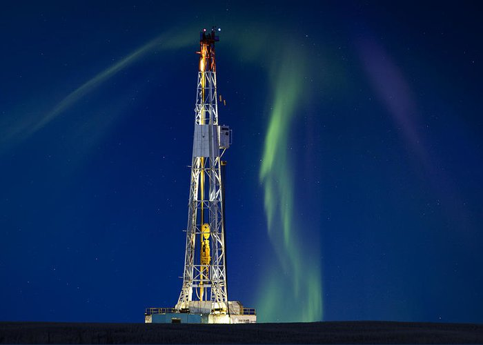 Platform Greeting Card featuring the photograph Drilling Rig Saskatchewan by Mark Duffy