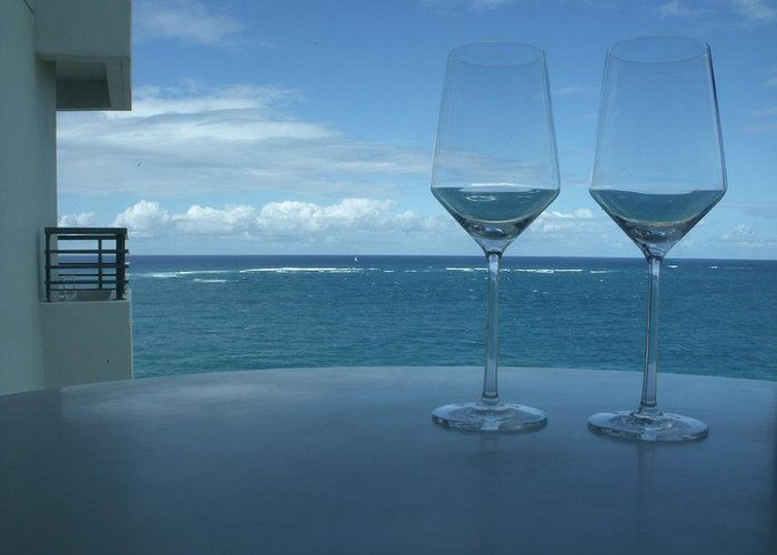 Wine Glasses Greeting Card featuring the photograph Drinks On The Terrace by Anna Villarreal Garbis