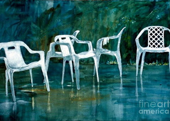Lawn Chairs Greeting Card featuring the painting Drip Dry by Elizabeth Carr