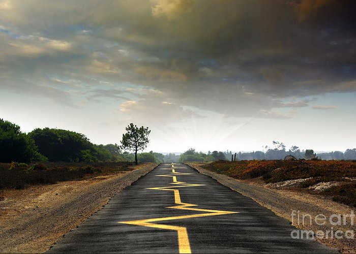 Asphalt Greeting Card featuring the photograph Drive Safely by Carlos Caetano