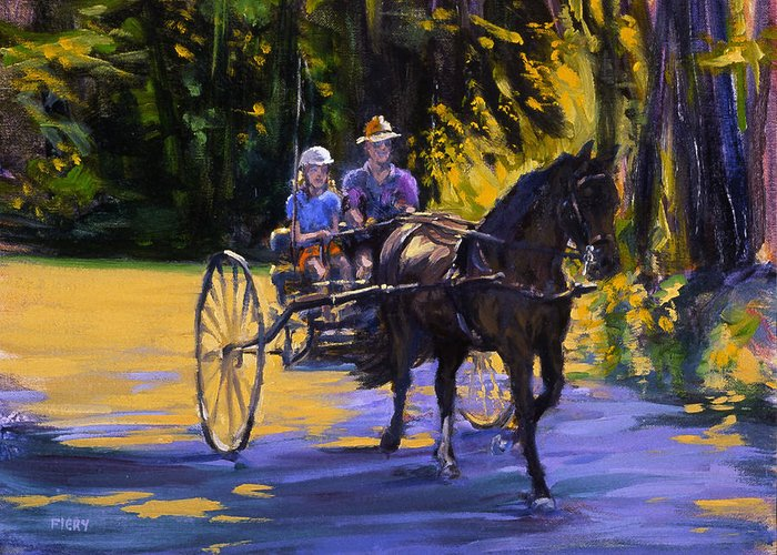 Horse Greeting Card featuring the painting Driver Training by Ken Fiery