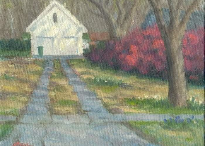 Landscape Greeting Card featuring the painting Driveway by Michael Gillespie