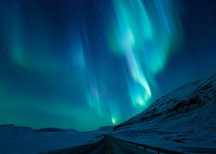 Northern Lights Greeting Card featuring the photograph Driving Home by Tor-Ivar Naess