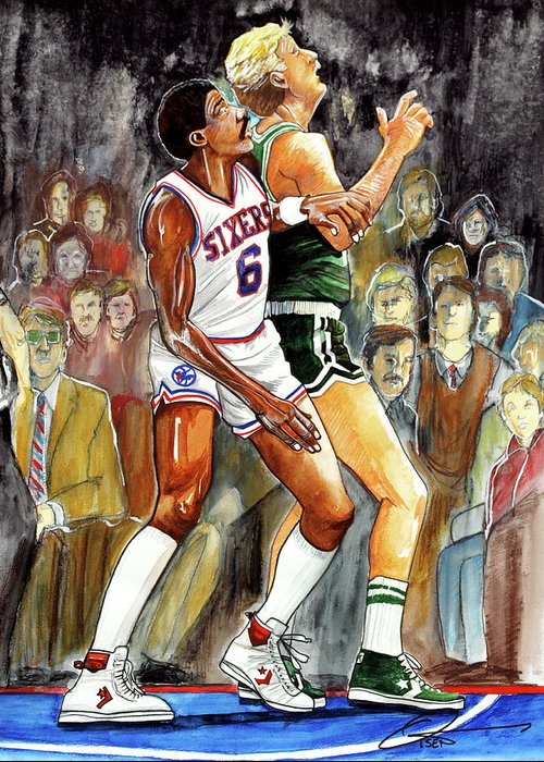 Larry Bird Greeting Card featuring the painting Dr.j Vs. Larry Bird by Dave Olsen