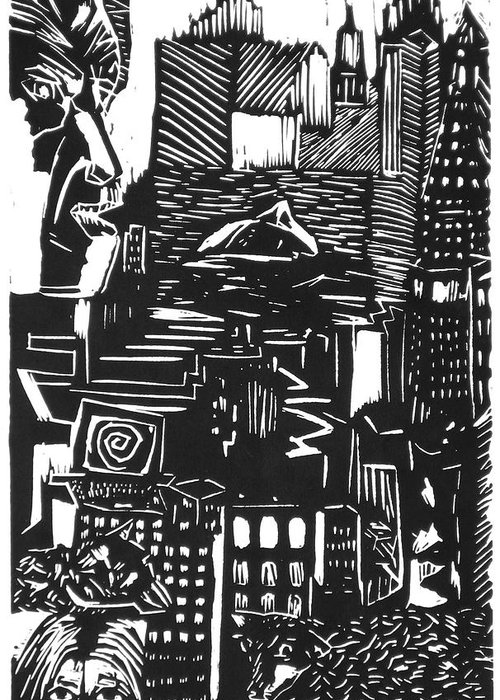 Apocalypse Buildings City Drown Lino Metropolis People Print Sheep Darkestartist Darkest Artist Black Greeting Card featuring the mixed media Drowning In Metropolis by Darkest Artist