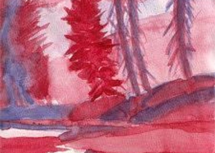Watercolor Lnandscape Greeting Card featuring the painting Drunken Trees by Lloyd Bast
