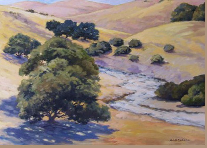 Landscape Greeting Card featuring the painting Dry Creek by Maralyn Miller