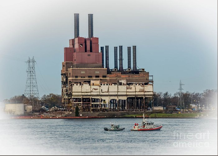 Dte Power Plant Greeting Card featuring the photograph Dte Power Plant by Grace Grogan