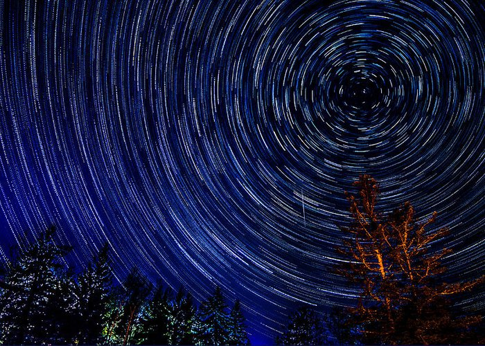 Star Trails Greeting Card featuring the photograph du Nord by Lowlight Images