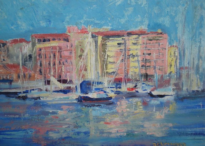 Meditrainean Greeting Card featuring the painting Du Port by Bryan Alexander