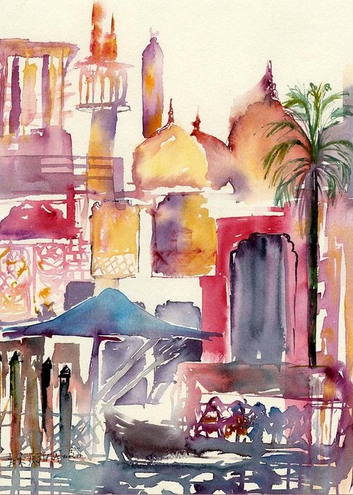 Landscape Greeting Card featuring the painting Dubai Creekside by Beena Samuel