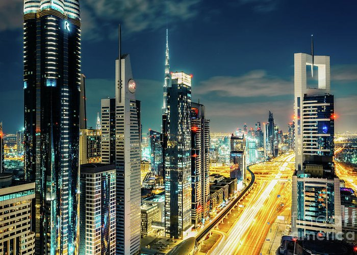 Dubai Greeting Card featuring the photograph Dubai Downtown Architecture And A Highway. by Dmitrii Telegin