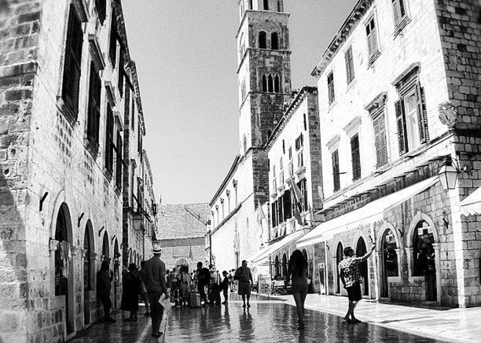Beautiful Greeting Card featuring the photograph #dubrovnik #b&w #edit by Alan Khalfin