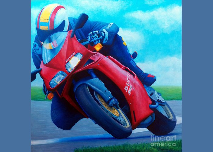 Motorcycle Greeting Card featuring the painting Ducati 916 by Brian Commerford