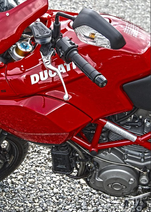 Diane Berry Greeting Card featuring the photograph Ducati Red by Diane E Berry