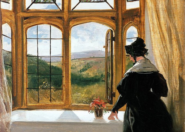 Duchess Of Abercornduchess Of Abercorn Looking Out Of A Window By Sir Edwin Landseer (1802-73) Greeting Card featuring the painting Duchess Of Abercorn Looking Out Of A Window by Sir Edwin Landseer