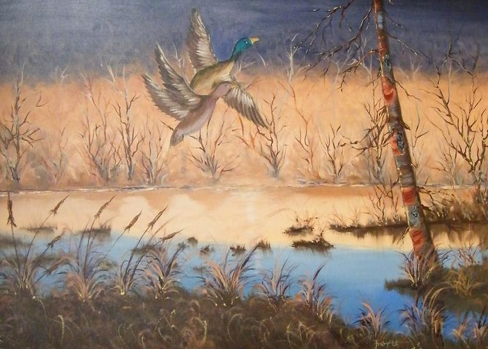 Greeting Card featuring the painting Duck Soup by Larry Doyle