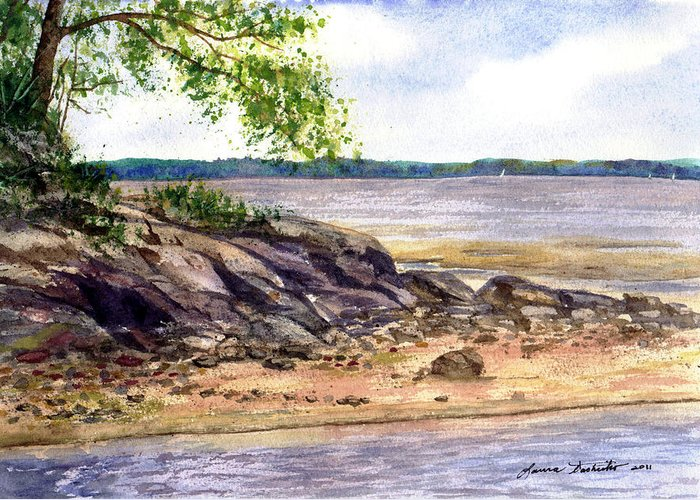 Maine Greeting Card featuring the painting Duck Trap River Outlet by Laura Tasheiko