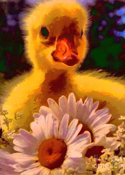 Fuzzy Duckling And Daisies Greeting Card featuring the painting Fuzzy Duckling And Daisies by Catherine Lott