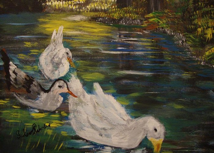 Ducks Greeting Card featuring the painting Ducks by Julio Palomino