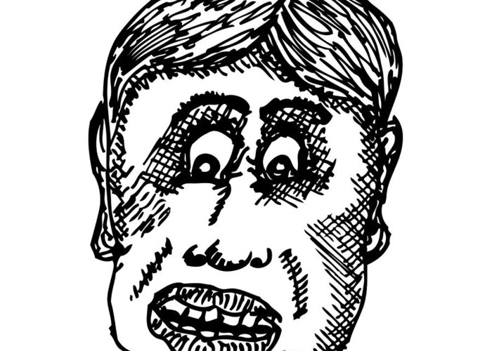 Drawing Greeting Card featuring the drawing Dude Face by Karl Addison