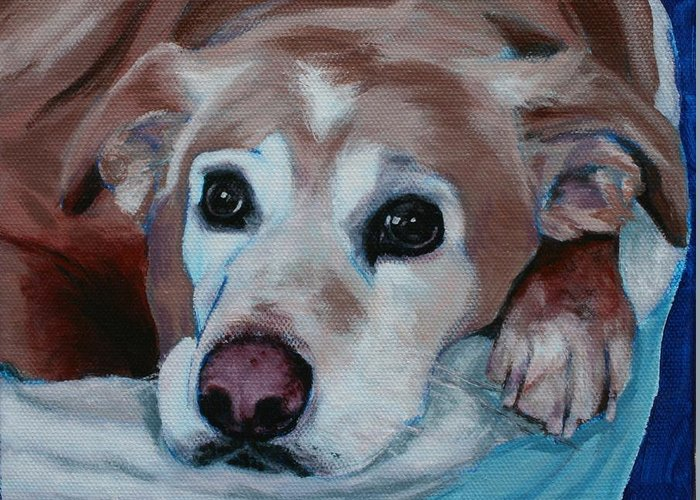 Dog Portrait Greeting Card featuring the painting Dudley by Wendy Whiteside