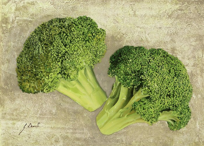 Broccoli Paintings Greeting Cards