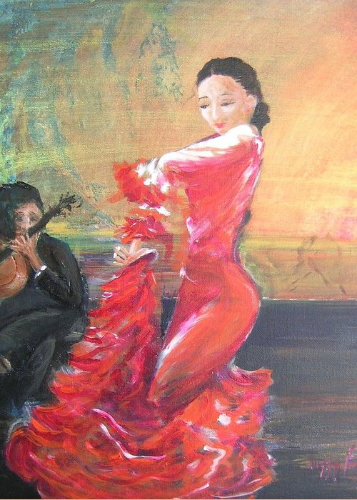 Gypsy Flamenco Dancer. Spanish Dancer Greeting Card featuring the painting Duende by Lizzy Forrester