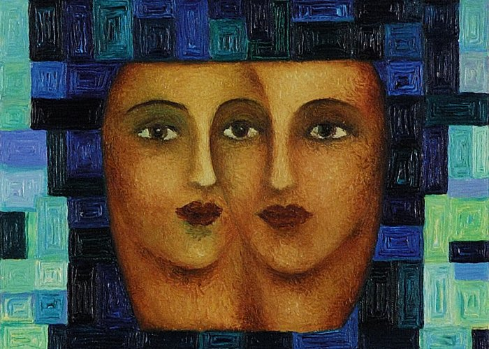 Image Greeting Card featuring the painting Duet 3 by Evgenia Davidov