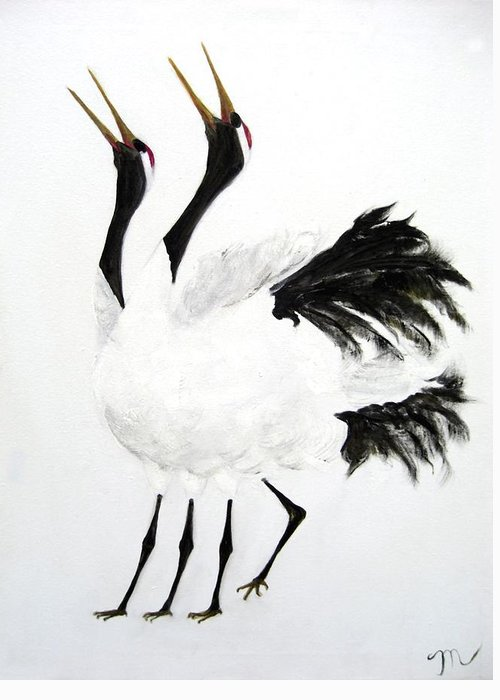 Bird Greeting Card featuring the painting Duet Of The Cranes by Michela Akers
