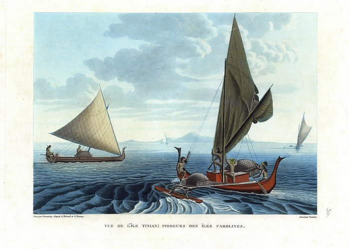Vue De Lile Tinian: Pirogues Des Iles Carolines Greeting Card featuring the drawing Dugout Outriggers From The Carolines Seen On Tinian Island by d apres A Berard and A Taunay
