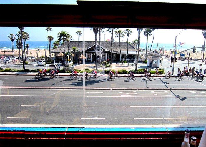 Huntington Beach Ca Freds Resturant Pch Main Street Pacific Coast Hwy 101 Surf City Usa Greeting Card featuring the photograph Duke's Huntington Beach by RJ Aguilar