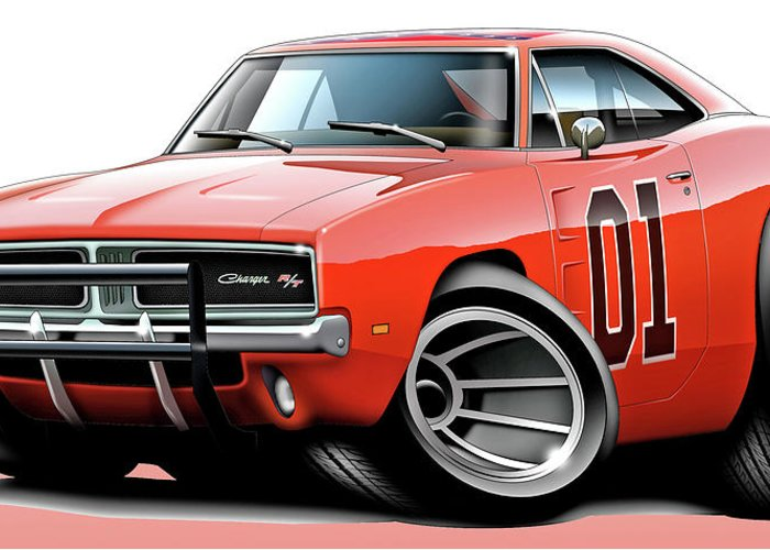 Delorean Greeting Card featuring the digital art Dukes Of Hazzard General Lee by Maddmax