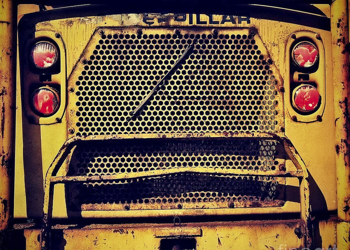 Caterpillar Greeting Card featuring the photograph Dump Truck Grille by Amy Cicconi